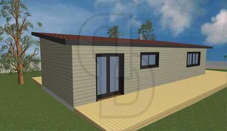ξύλινη κατοικία, γκρι, προκατασκευασμένη, ισόγεια, μόνωση, μονόριχτη στέγη